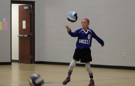 Warming up before the volleyball game